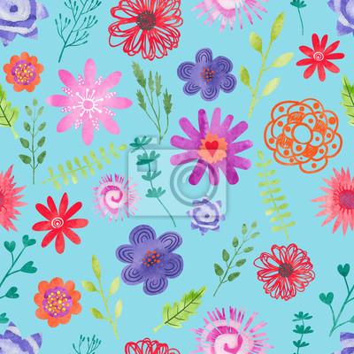 dfb365e2b2 Carta da parati: Fiori dellacquerello seamless. vector sfondo floreale blu  con