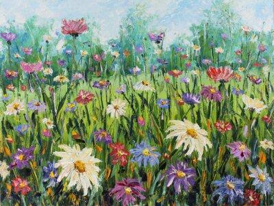 Carta da parati Fiori di campo estivo, pittura ad olio