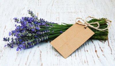Carta da parati fiori di lavanda con tag