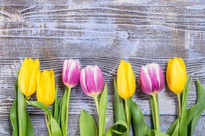 Carta da parati Fiori di tulipano sul fondale di legno