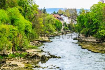 Carta da parati Fiume Aare nella città di Brugg in Svizzera