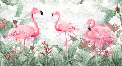 Carta da parati flamingos in tropical streams with textured background, photo wallpaper