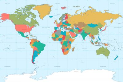 Carta da parati Flat Colors World Map