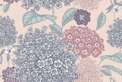 Carta da parati Floral pastel color background. Vintage seamless pattern. Vintage. Vector.