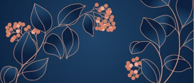 Carta da parati Floral seamless navy blue and copper metallic plant background vector for house deco