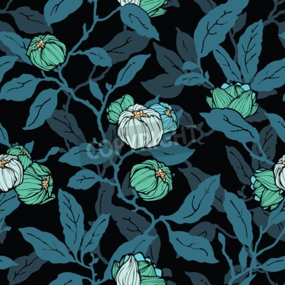 Carta da parati Floral seamless pattern. Abstract ornamental flowers. Flourish leaves background