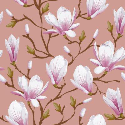 Carta da parati Floral seamless pattern - magnolia