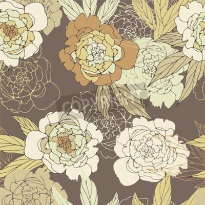 Carta da parati Floral seamless pattern with peony.