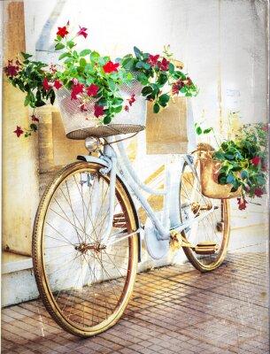 Carta da parati floreale bici - carta d'epoca