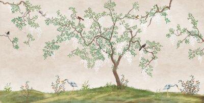 Carta da parati Flowering tree in the Japanese garden with birds. Fresco, Wallpaper for interior printing.