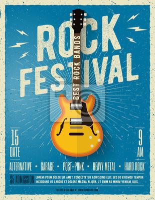 Carta da parati Flyer di musica rock. Illustrazione vettoriale.