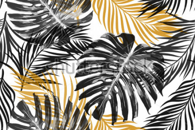 Carta da parati Foglie di palma tropicale, foglie di giungla. Fondo floreale tropicale astratto elegante chic alla moda di vettore senza cuciture bello