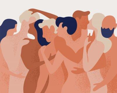 Carta da parati Folla di uomini e donne nudi che abbracciano e baciano. Concetto di poligamia, poliamore, relazione intima e romantica intima, amore libero. Illustrazione vettoriale colorato in stile cartone animato