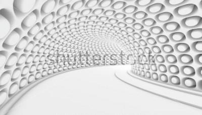 Carta da parati Fondo astratto bianco del tunnel 3d. 3d rendering illustrazione