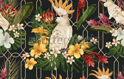 Carta da parati Fondo senza cuciture del modello tropicale con i fiori tropicali e l'uccello di cacatua. Carta da parati Tropicana, carta digitale, illustrazione di raster in stile hawaiano vintage.