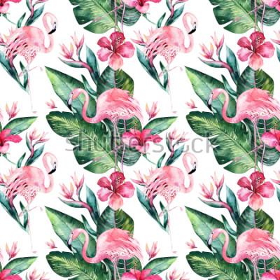 Carta da parati Fondo senza cuciture tropicale del modello di estate floreale con le foglie di palma tropicali, l'uccello rosa del fenicottero, ibisco esotico. Perfetto per carte da parati, design tessile, stampa