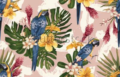 Carta da parati Fondo tropicale senza cuciture con i fiori tropicali, macaw blu e giallo e fenicottero. Illustrazione tropicale in stile hawaiano vintage.