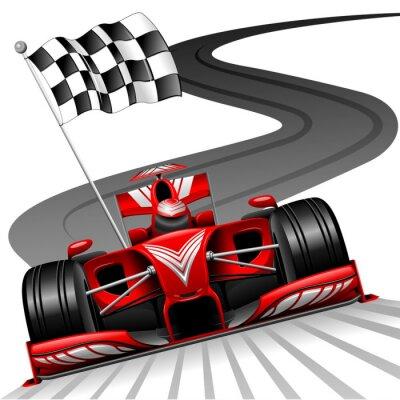 Carta da parati Formula 1 Red Car on Race Track