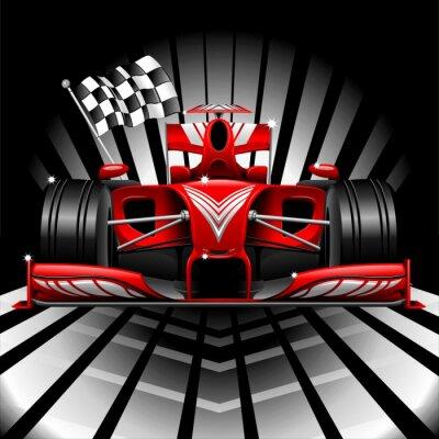 Carta da parati Formula 1 Red Race Car e Bandiera a scacchi