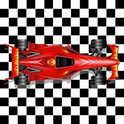 Carta da parati Formula 1 Red Race Car su sfondo a scacchi