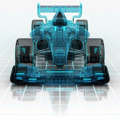 Carta da parati Formula tecnologia automobilistica wireframe schizzo vista frontale