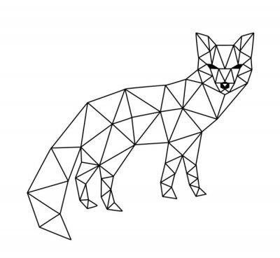 Carta da parati fox poligonale