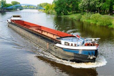 Carta da parati Frachtschiff auf der Weser bei Nienburg