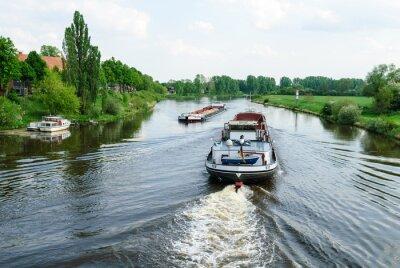 Carta da parati Frachtschiffe auf der Weser bei Nienburg