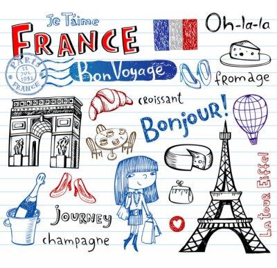 Carta da parati France symbols as funky doodles
