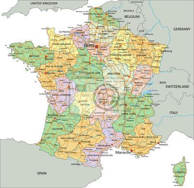 Cartina Francia Sud Dettagliata.Francia Altamente Dettagliata Mappa Politica Modificabile Con Carta Da Parati Carte Da Parati Normandia Marsiglia Corsica Myloview It