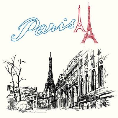 Carta da parati Francia, Parigi - Torre Eiffel - set disegnata a mano