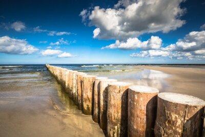 Carta da parati frangiflutti in legno sulla spiaggia di sabbia Leba nel tardo pomeriggio, Baltico