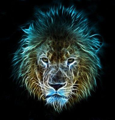 Carta da parati Frattale fantasia arte digitale di un leone su uno sfondo isolato