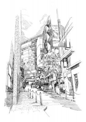 Carta da parati free hand sketch of the old alley of the city