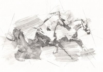 Carta da parati freehand horse head pencil drawing
