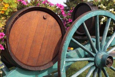 Carta da parati French Village vino botti di vino vigna e carrello.
