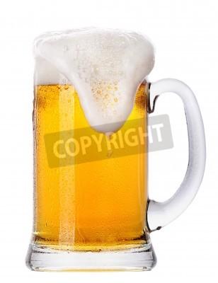 Carta da parati Frosty bicchiere di birra chiara set isolato su uno sfondo bianco