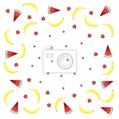 Frutta Sfondo Con Banane Gialle Anguria E Fragole Succose Su Carta