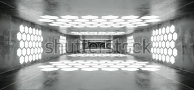 Carta da parati Futuristico Sci Fi Spaceship Grunge Tunnel vuoto di cemento con luci a forma di esagono incandescente bianco con Black Dark End 3D Rendering illustrazione