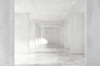 Carta da parati galleria in stile loft, con molte pareti in edificio vuoto luce