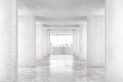 Carta da parati galleria in stile loft, con molte pareti in edificio vuoto luce con b