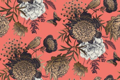 Carta da parati Garden flowers peonies on a coral background. Luxury seamless pattern.