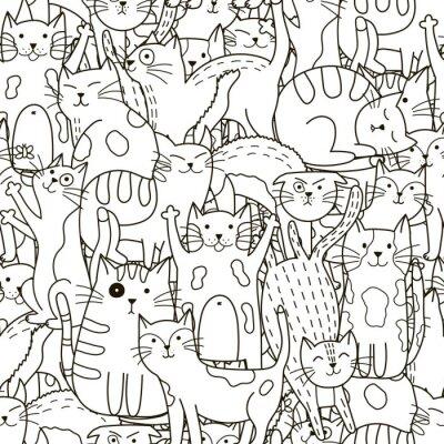 Carta da parati gatti Doodle seamless pattern. In bianco e gatti svegli sfondo bianco