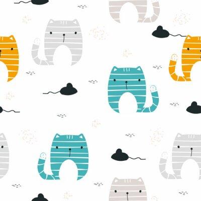 Carta da parati Gatto divertente con reticolo senza giunte del mouse. Stampa infantile Illustrazione disegnata a mano di vettore