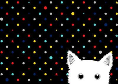 Carta da parati Gatto nero illustrazione vettoriale sfondo colorato Dots Stella
