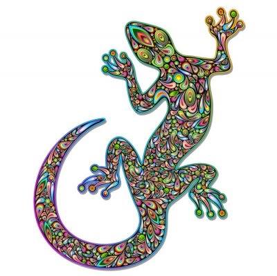 Carta da parati Gecko Lizard Geko Psychedelic Art Design Geco psichedelico