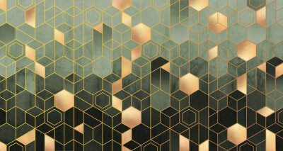 Carta da parati Geometric abstraction of hexagons in green tones on a raised background with gold elements.