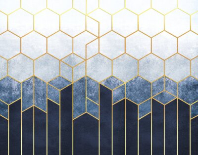 Carta da parati Geometric abstraction of hexagons on a blue relief background with gold elements. Fresco for interior printing, Wallpapers.