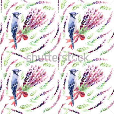 Carta da parati Ghiandaia blu con il modello senza cuciture della lavanda su un fondo bianco. Illustrazione dell'acquerello dipinto a mano.