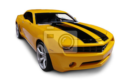 Carta da parati Giallo American Sports Car